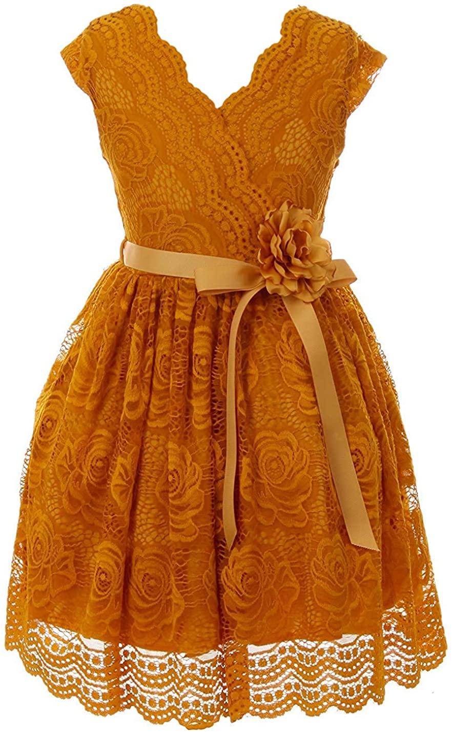 iGirlDress Little Girls Floral Design Lace Easter/Spring Dress Sizes 2-14