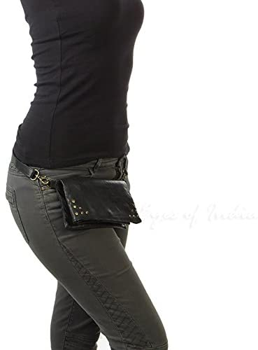 Eyes of India - Black Leather Belt Bum Hip Waist Pouch Bag Womens Fanny Pack Travel Purse
