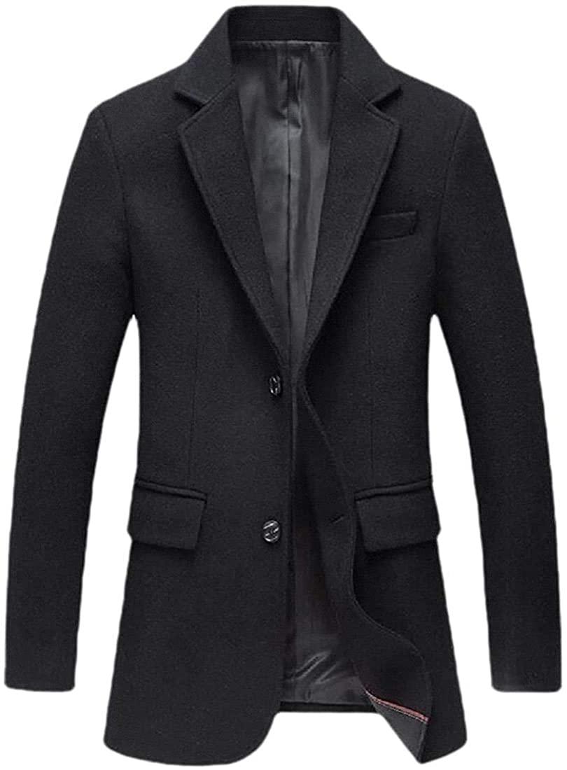 Qhghdgysd Mens Fashion Outwear Woolen Blend Two Buttons Lapel Jacket Pea Coat