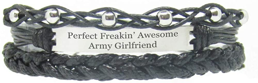 Miiras Family Engraved Handmade Bracelet - Perfect Freakin' Awesome Army Girlfriend - Black 1 - Made of Braided Rope and Stainless Steel - Gift for Army Girlfriend