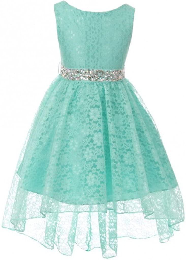 Sleeveless Rhinestone Belt High Low Lace Pageant Graduation Flower Girl Dress