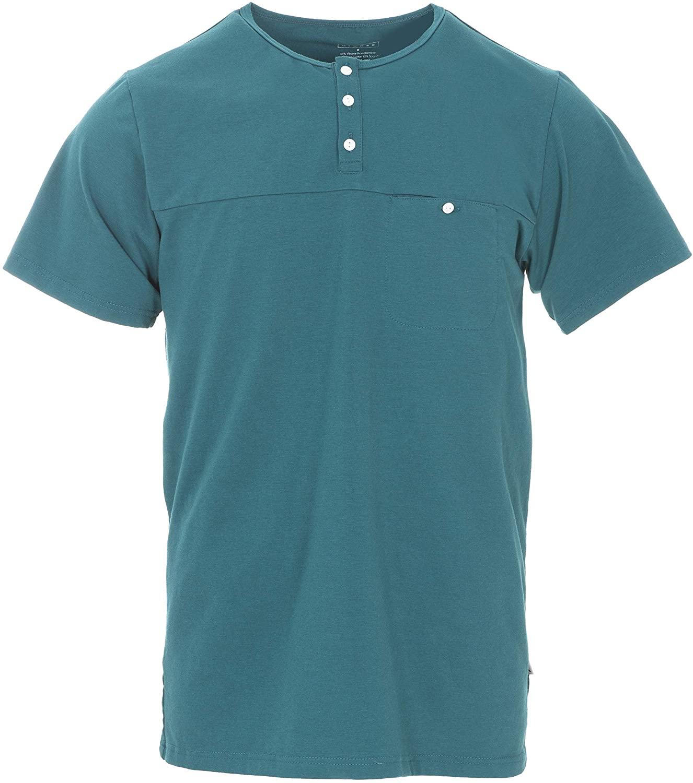 Men's Solid Short Sleeve Performance Jersey Henley (Oasis - L)