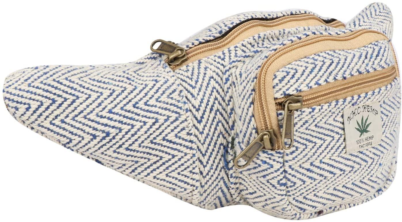 Hemp Fanny Pack,Adjustable Waist and Multiple Pockets,Waist Bag & for all purpose
