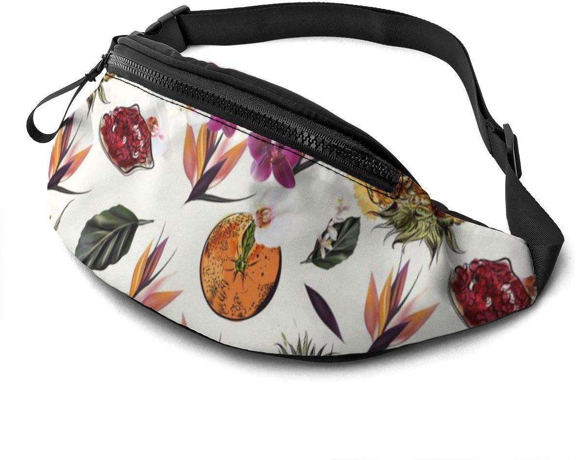 Fruits Pattern Design Fanny Pack For Men Women Waist Pack Bag With Headphone Jack And Zipper Pockets Adjustable Straps