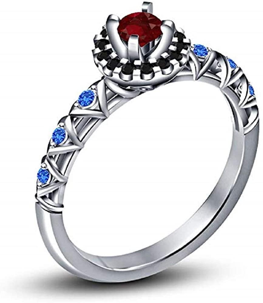 TVS-JEWELS 925 Silver White Platinum Plated CZ Disney Princess Mulan Engagement Ring