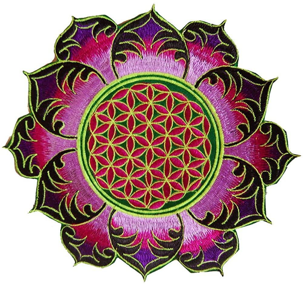 ImZauberwald Flower of Life patch holy geometry ~7inch purple mandala