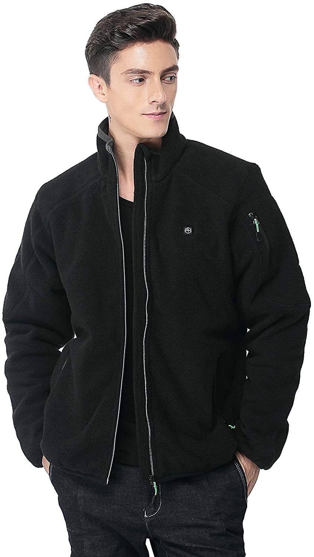Pau1Hami1ton Mens Sherpa Fuzzy Fleece Heated Jacket Full-Zip Use Your Own 5v/2a(Power Bank) PJ-05