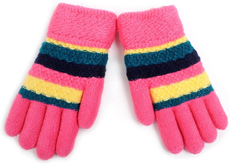 Juniors' Tri-Color Striped Fleece Lined Winter Gloves