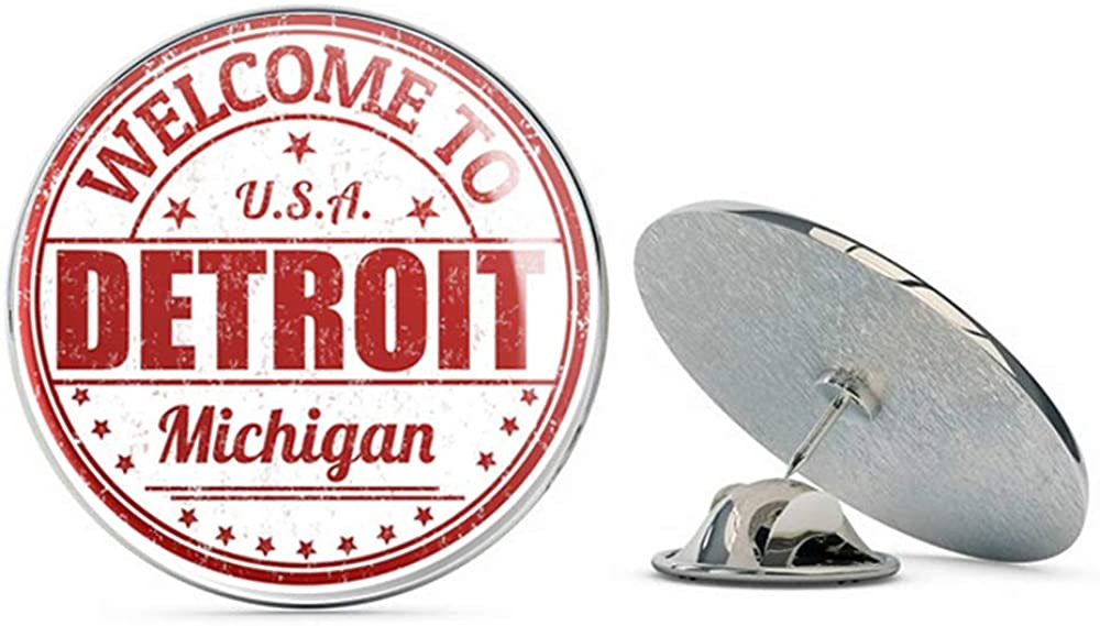Detroit USA Round Metal 0.75
