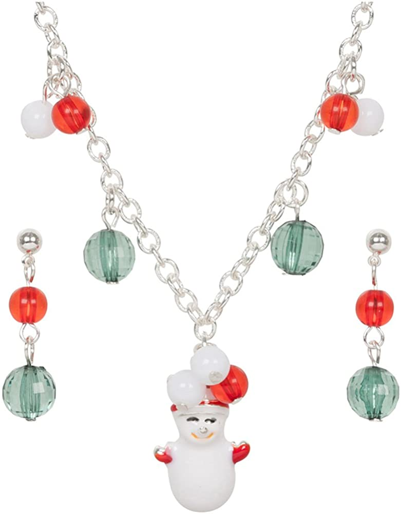 Heirloom Finds Christmas Theme Snowman Charm Red Green Holiday Necklace Set
