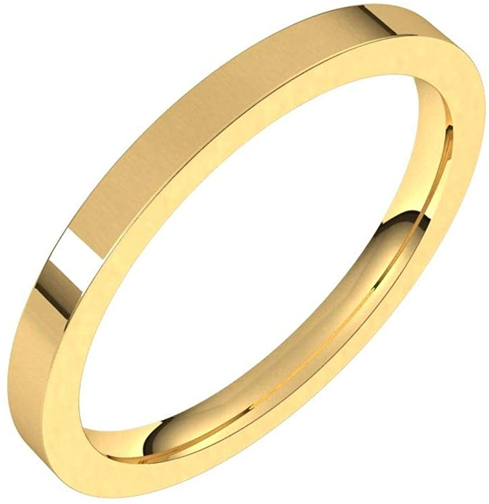Solid 18K Yellow Gold 2mm Flat Comfort Fit Wedding Band Size 13