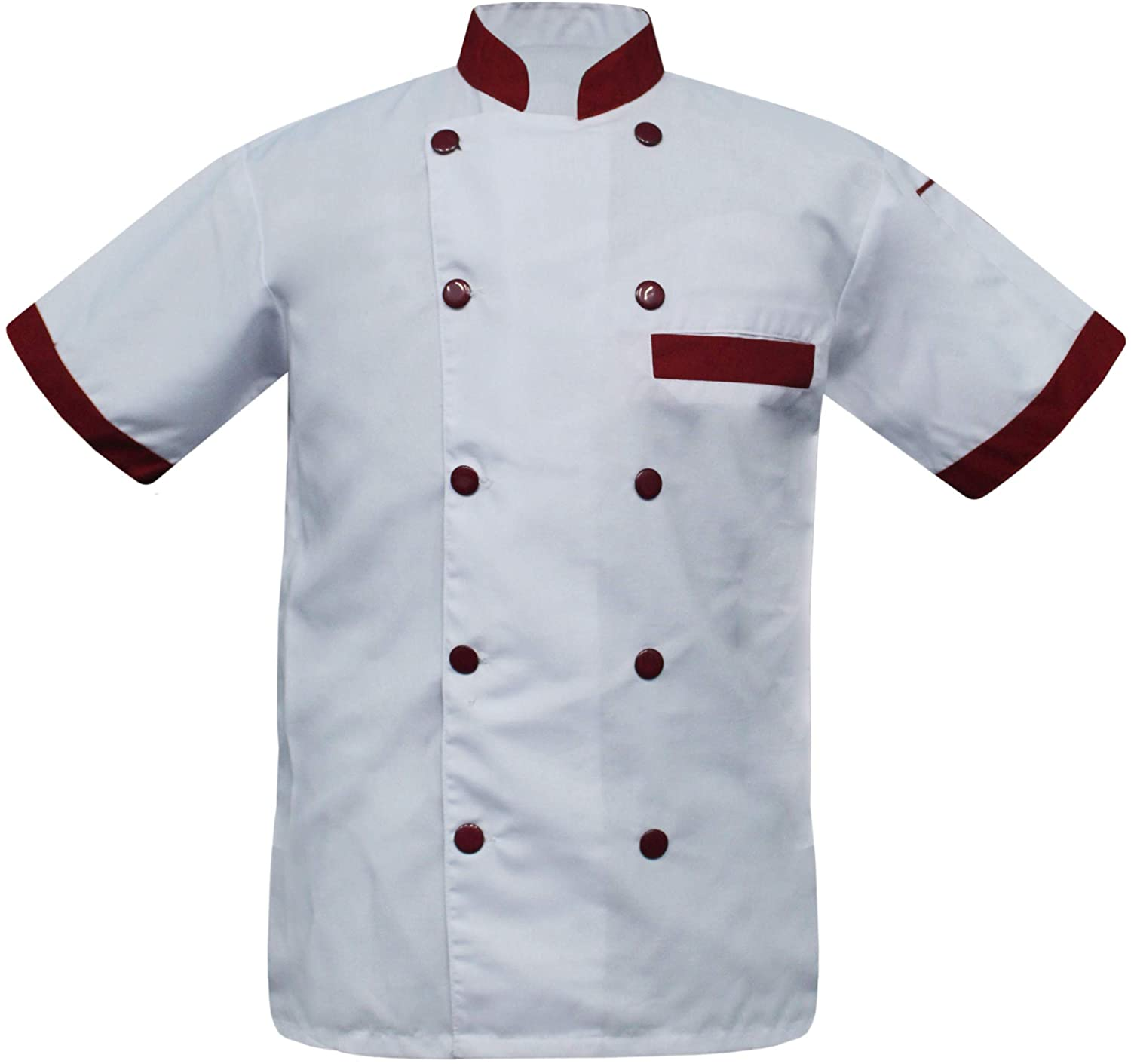 White Vend Produced CF-97 Men's White Chef Jacket Collar in Multi Colors