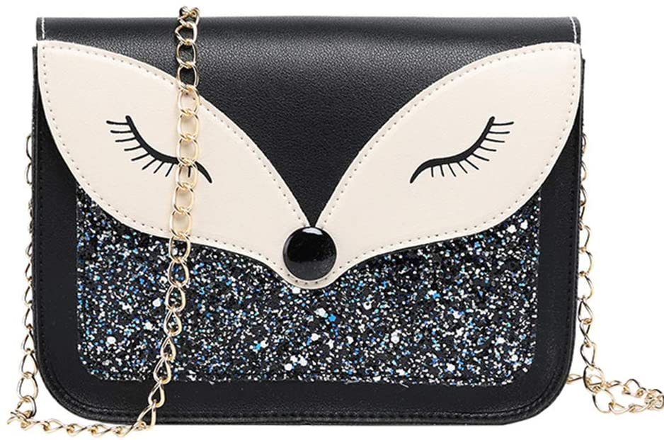 Little Girl Purse Cute Fox Sequins Leather Crossbody Bag Small Purse Shoulder Bag for kids Gift (Black)