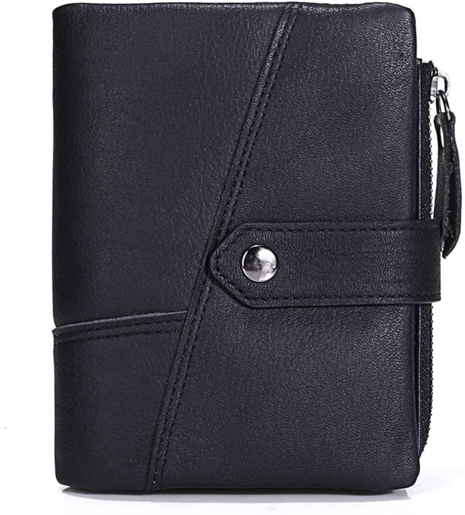 WENNEW Wax Oil Unisex Minimalist Leather Wallet Retro Snap Fastener Zipper Bag Mens Travel Wallet Fashion (Color : Black)