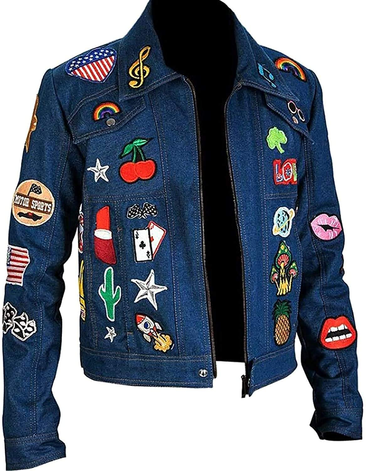 Leatheromatic's New Taron Egerton Jacket Blue Denim with Multiple Patches