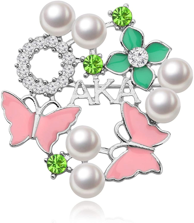 CENWA AKA Pearl Crystal Brooch Pin AKA Sorority Graduation Gifts Pink and Green Pin Alpha Kappa Alpha Jewelry Leaf Pendant Jewelry