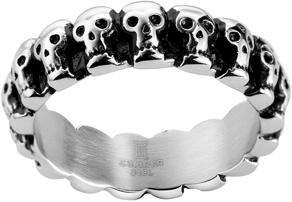Jude Jewelers 6mm Stainless Steel Gothic Skull Biker Ring