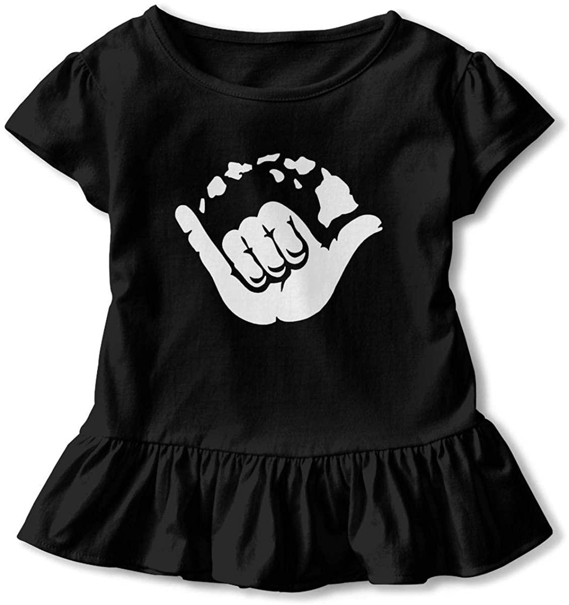 Aloha Hand Hawaii Symbol 3D Tee Baseball Ruffle Short Sleeve Cotton Girls Shirts