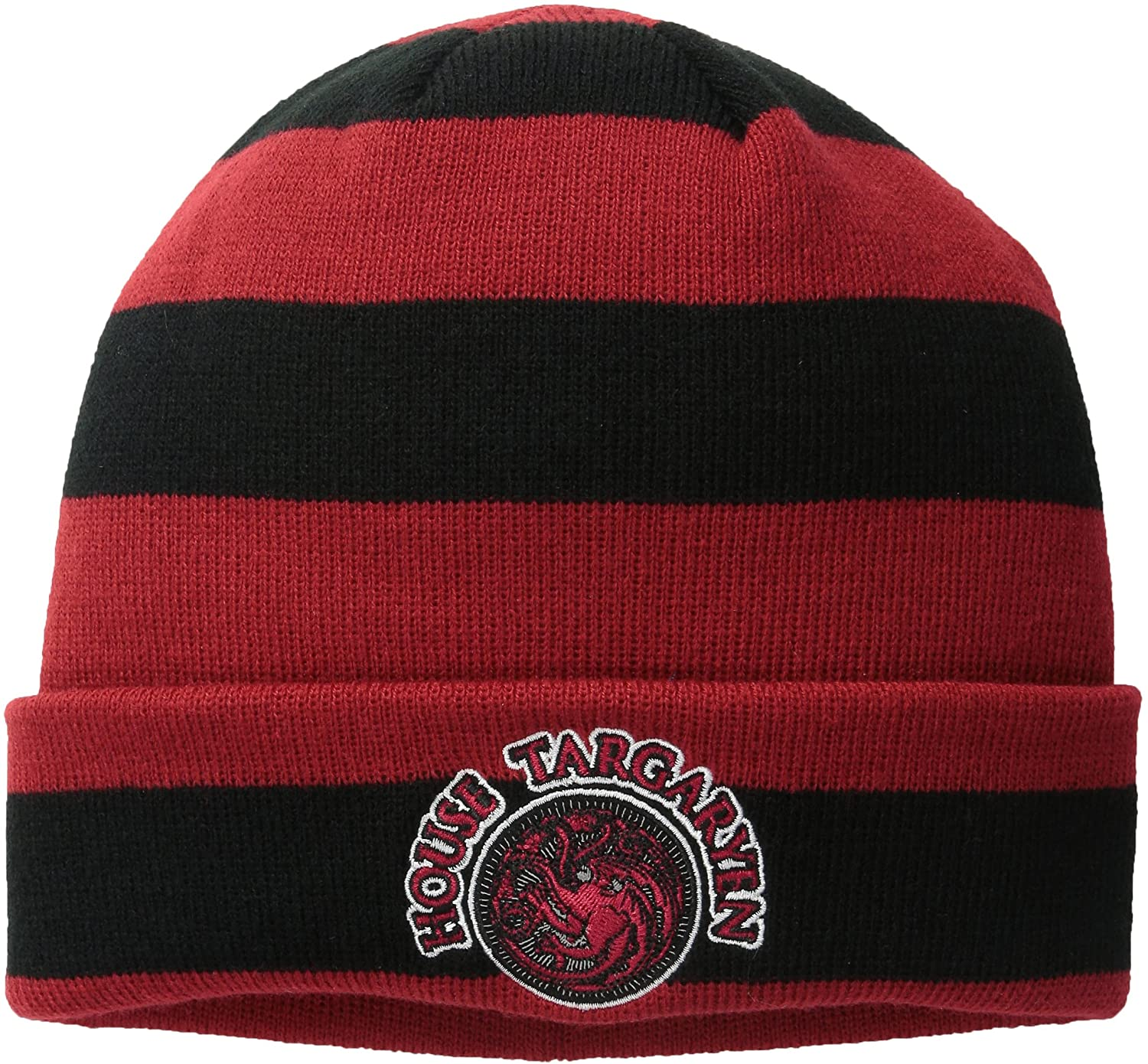 Game of Thrones Mens Striped Cuff Beanie with Targaryen Patch