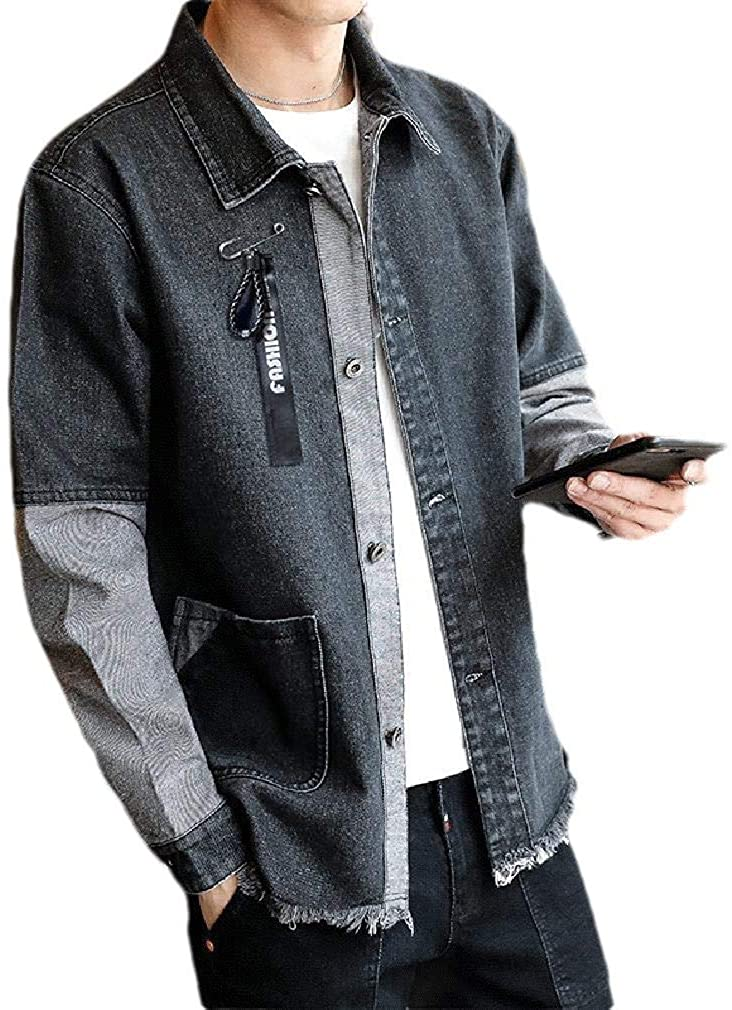 Xudcufyhu Men Burr Washed Patched Relaxed Denim Jean Jacket Coats Outerwear