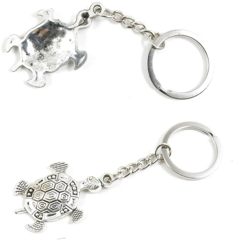2 PCS Tortoise Turtle Keychain Keyring Jewelry Making Charms Door Car Key Tag Chain Ring K9RH5G