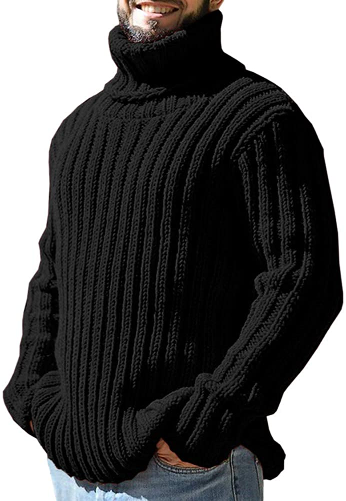 Pretifeel Mens Sweater Turtleneck Slim Fit Pullover Winter Ribbed Thick Knitted Casual Fall Warm Jumper Black