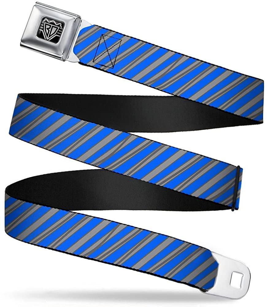 Buckle-Down Seatbelt Belt - Diagonal Stripes Scribble Gray/Blue - 1.0