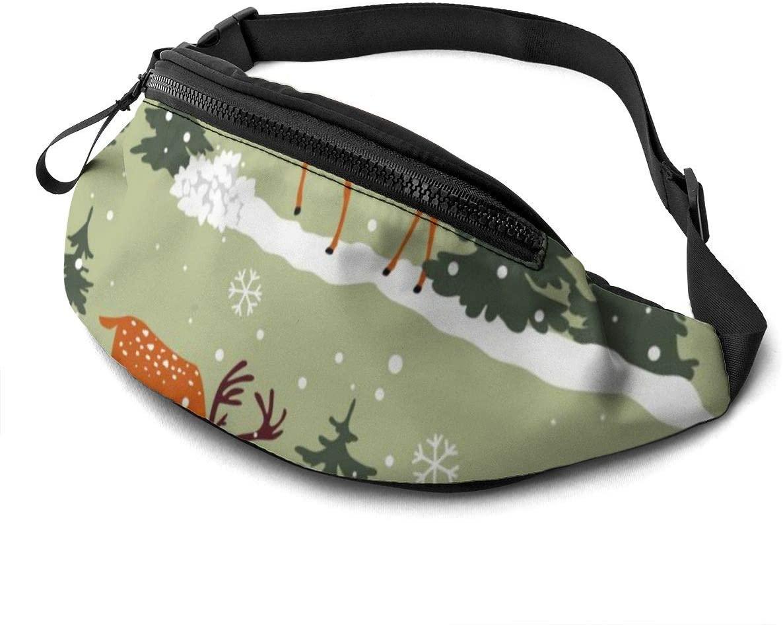 Cartoon Animal Snowfield Fashion Casual Waist Bag Fanny Pack Travel Bum Bags Running Pocket For Men Women