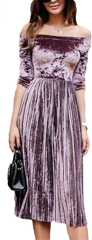 Soluo Womens Off Shoulder Boat Neck 3/4 Sleeve Dress Pleated Velvet A-Line Slim Midi Dresses