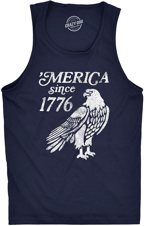 Mens Fitness Tank Merica Since 1776 Tanktop Funny Patriotic 4th of July USA Shirt