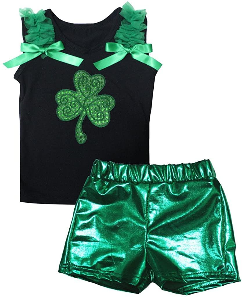 Petitebella Sequins Clover Black Shirt Green Bling Short Set 1-8y