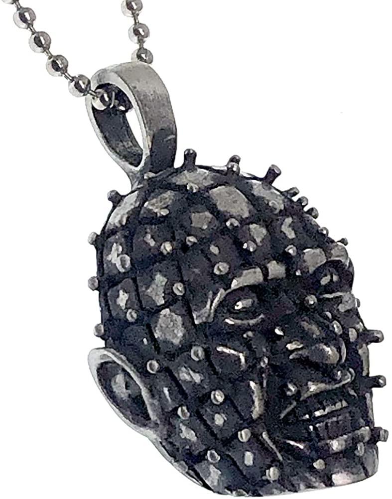 Hallween Jewelry Hellriser Toucher Pinhead Horror Pewter Men's Boy's Pendant Necklace w Silver Ball Chain for men