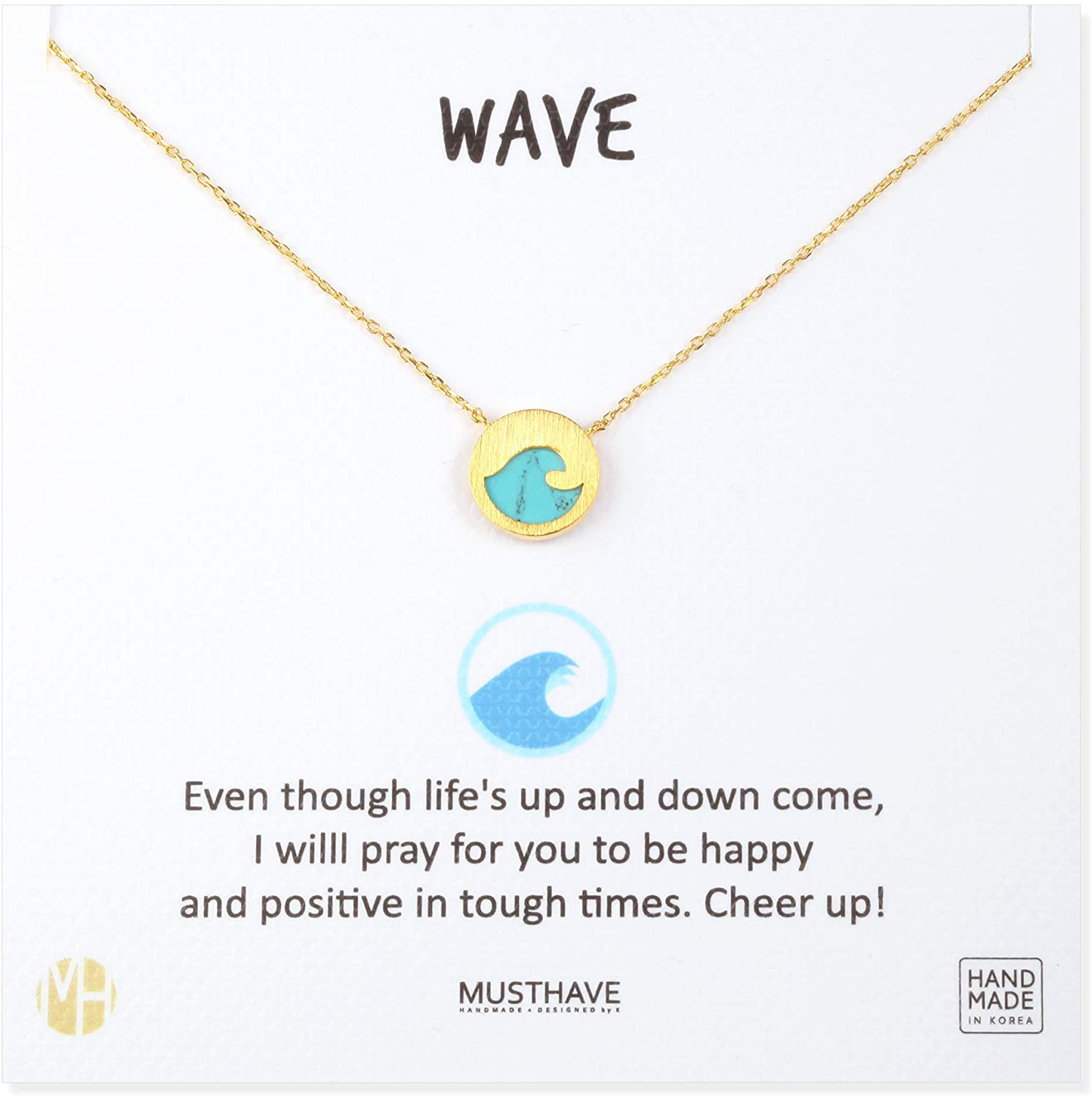 MUSTHAVE Wave 18K Gold Plated Gem Stone Necklace with Message Card, Lapis/White/Turquoise/Malachite Color, Anchor Chain, Best Gift Necklace, Size 16 inch + 2 inch Extender, Wave Pendant, Gift Card