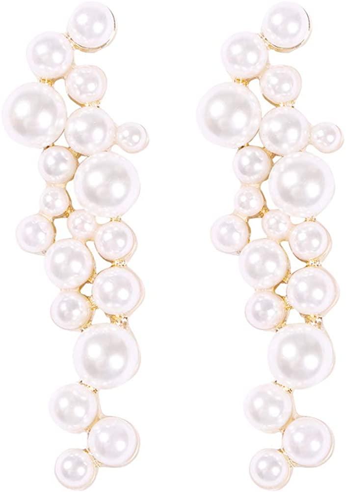 Solememo Gold Tone Elegant Geometric Long Tiered Chandelier Dangle Earrings with Faux Pear Gold DIsc Mesh Metal Crystals Tassel Statement Drop Earrings for Women Teen Girls (Pearl Stud)