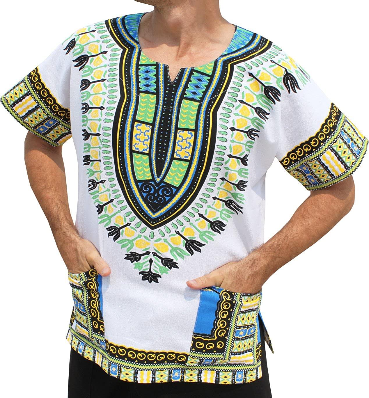 RaanPahMuang Brand Thick Muang Cotton Print African Dashiki Shirt Africa Plus