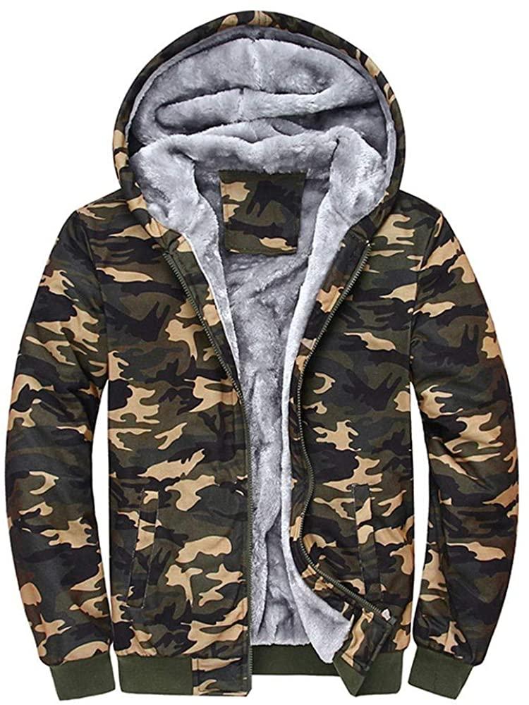 OMINA Mens Camouflage Sweatshirt Hoodie Zipper Winter Fleece Warm Sweater Jacket 2019 Fashion Casual Cotton Large Coat