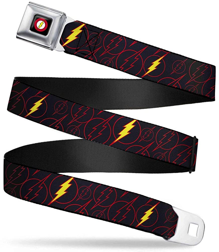 Buckle-Down Belt Seatbelt Buckle The Flash Logo13 Scattered Black Red Yellow Mens Womens Kids Adjustable