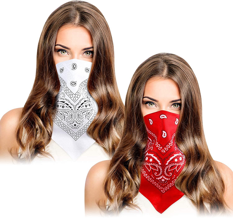8 Pieces Paisley Cowboy Bandanas Headband Printed Headwraps Wristband for Unisex (Red White)