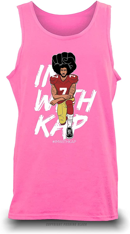 Pushing Black 'Colin Kaepernick - Take a Knee - #ImWithKap Unisex Tank Top (Safety Pink (Gildan), Medium)