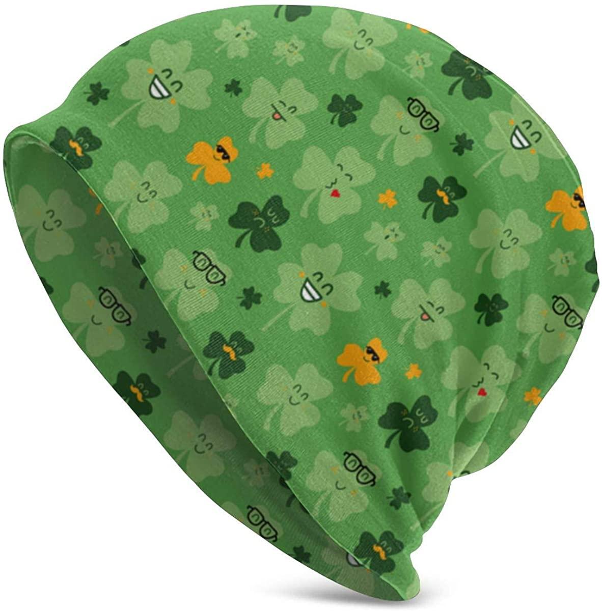 Shamrock Good Luck Clover St Patrick Green Beanie Men Women - Unisex Winter Summer Warm Cuffed Plain Slouchy Skull Daily Knit Hat Cap