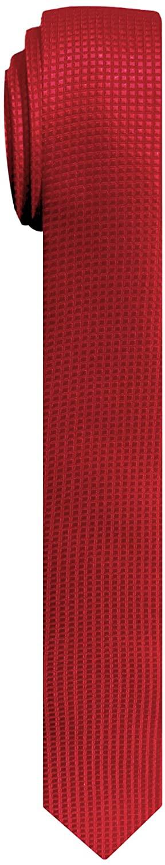 Jacob Alexander Men's Ultra Skinny Woven Subtle Mini Squares Neck Tie - Red