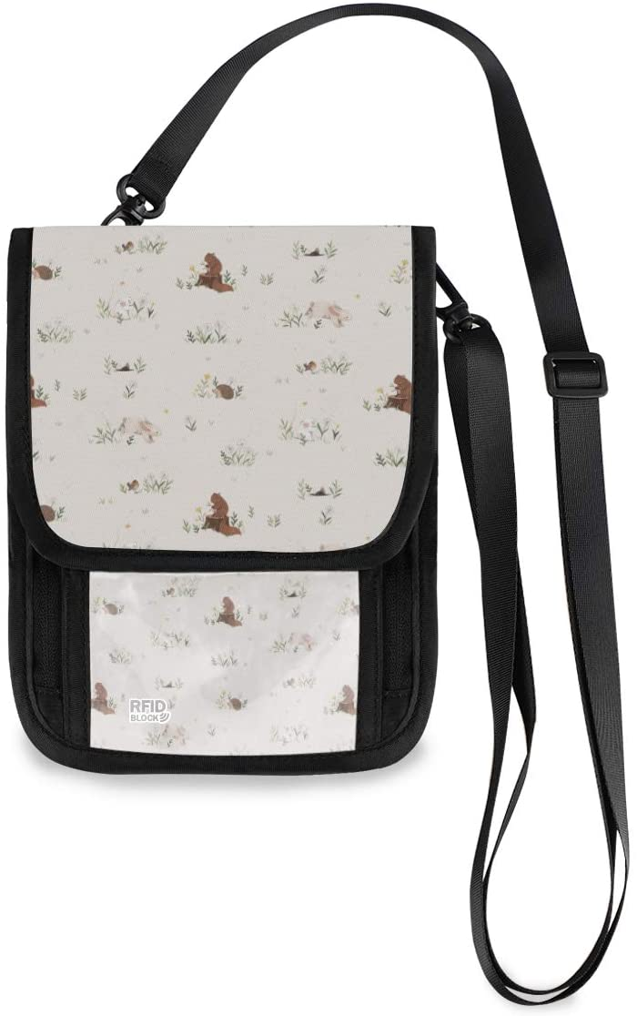 Travel Neck Wallet Spring And Meadow Animals Pattern Passport Holder Organized Travel Neck Pouch Crossbody Phone Bag for Women Men