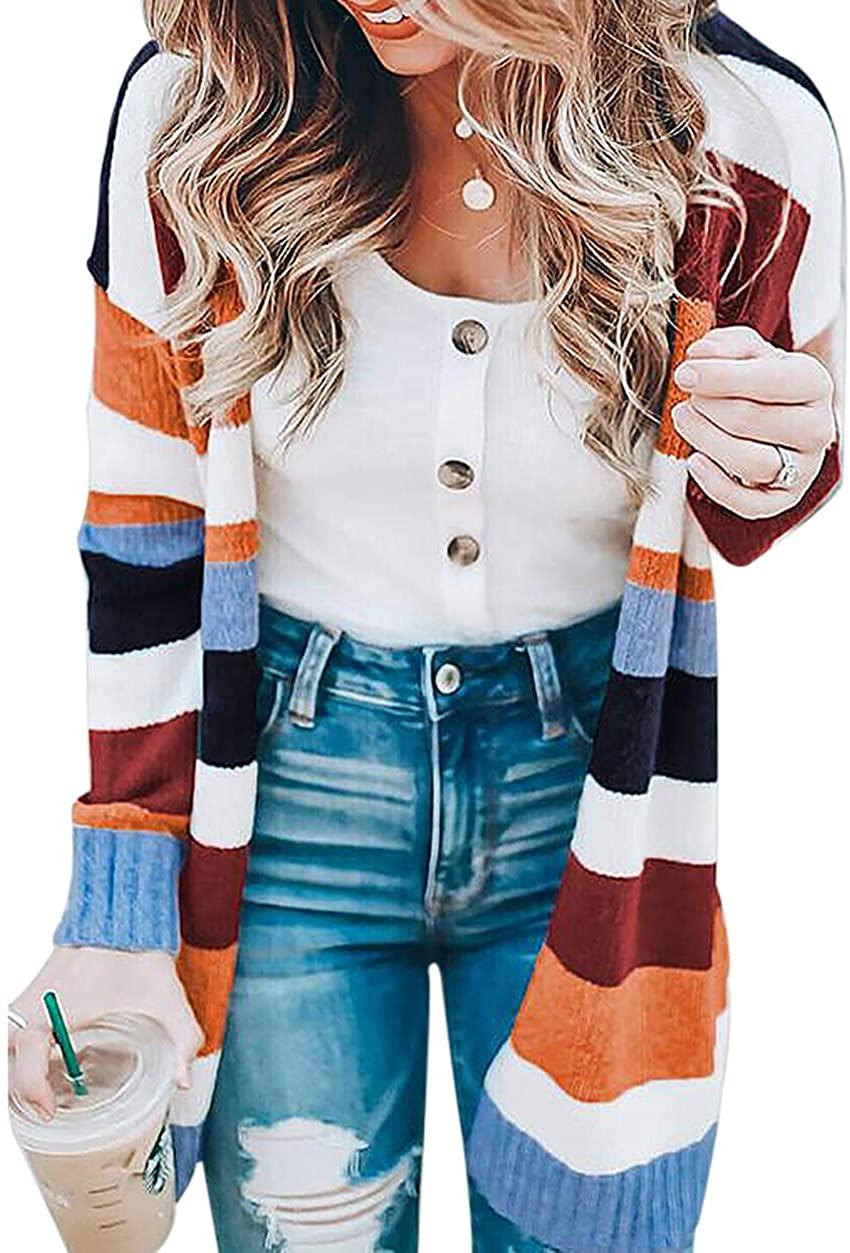 Voghtic Women Long Sleeve Sweater Striped Cardigan Blouses Long Coat Tops Loose Sweatshirt with Pocket