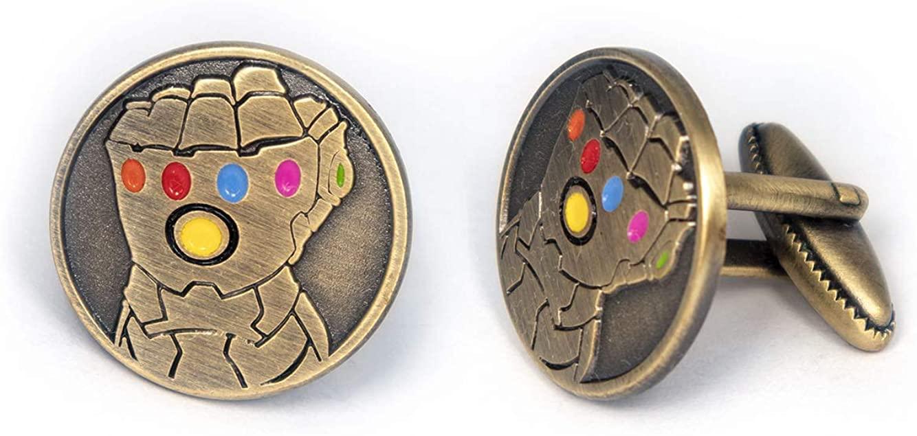 SharedImagination Infinity Gauntlet Cufflinks, Avengers Infinity Stones Tie Clip, Thanos Jewelry, Iron Man Tie Tack Geek Gifts, Superhero Captain America Cuff Links Wedding Party Groomsmen Gift