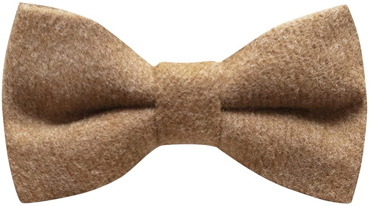 Luxury Camel Brown Donegal Tweed Bow Tie, Tweed