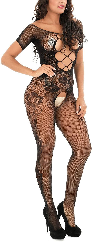 JAZZUP Women Fishnet Bodystocking Bodysuit Babydoll Lingerie High Elasticity Sleepwear Tight Nightwear Plus Size Lingerie