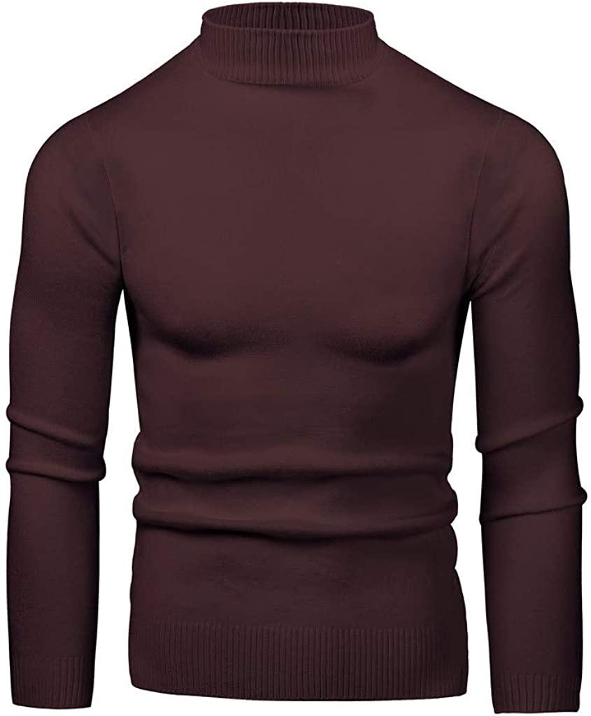 WINJUD Mens Bottoming Tops Elastic High Collar Slim Sweater Plain Long Sleeve Pullover