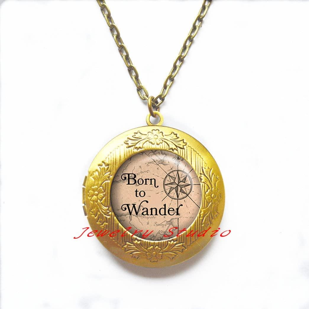 Born to Wander Locket Necklace, traveler's Locket Necklace, traveler's gift, compass Locket Pendant, traveler's jewelry map and compass jewelry wanderlust-HZ00363