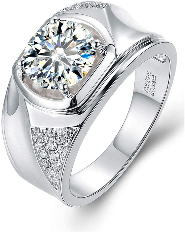 GemsIndustry Moissanite Ring Engagement Ring, 14k White Gold Engagement Ring, 6.50mm GH Round Moissanite Engagement Ring Engagement Ring Moissanite