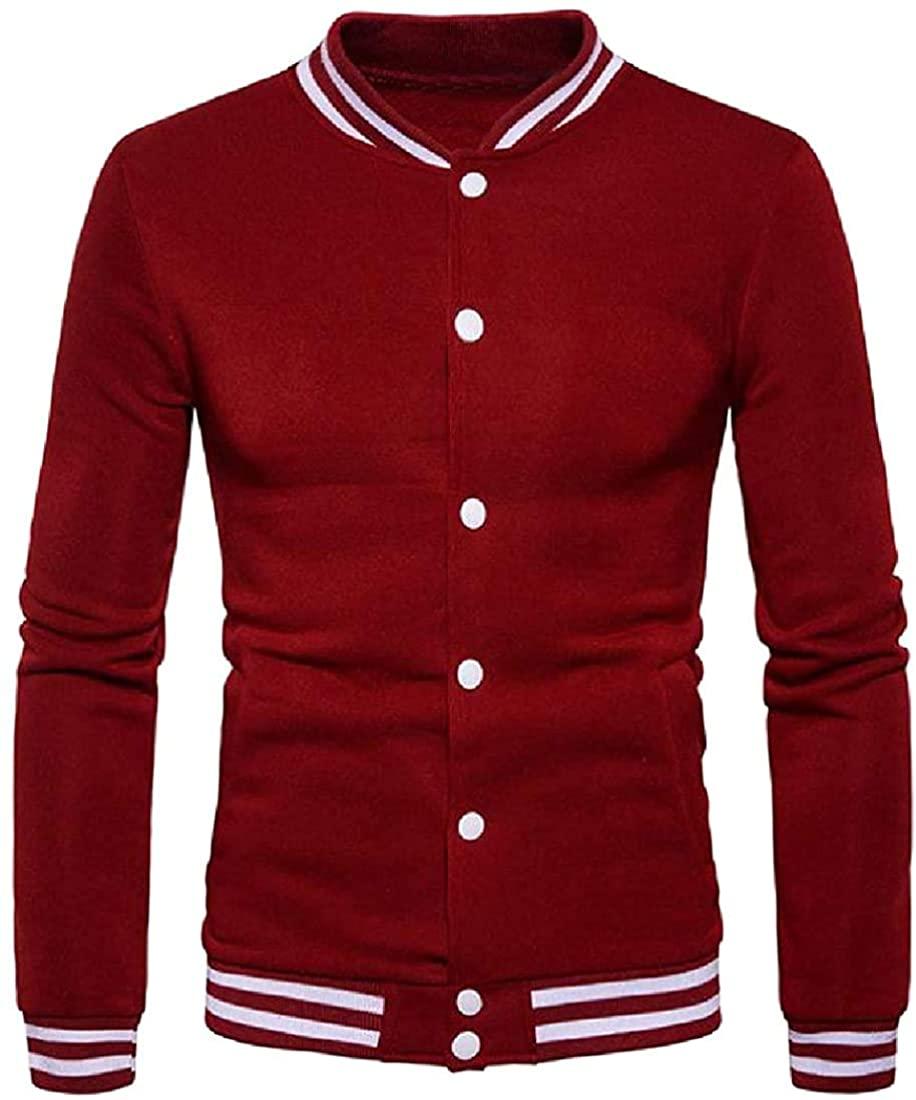 Men Soft Comfort Assorted Size Plus Button Color Down Varsity Jacket